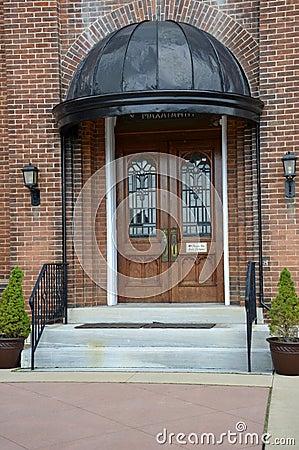 Ornate wooden church doors