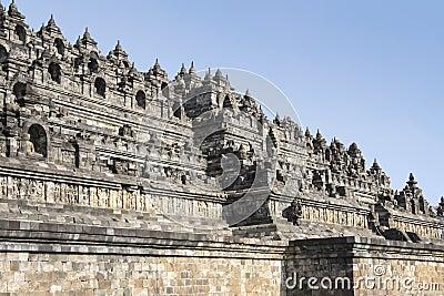Borobudur pyramid temple walls java indonesia