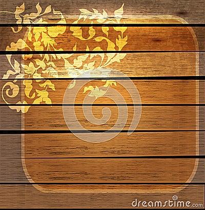 Ornement floral de cru au-dessus de bois