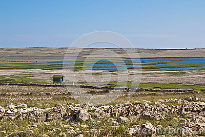 Ornithological reserve on Pag with watching tower