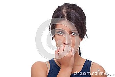 Oroad kvinna