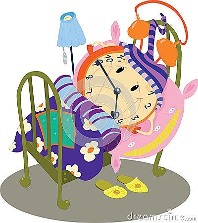 Orologio che dorme nel letto