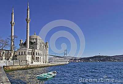 Ortakoy Mosque And The Bosphorus Bridge Royalty Free Stock Image - Image: 26302756