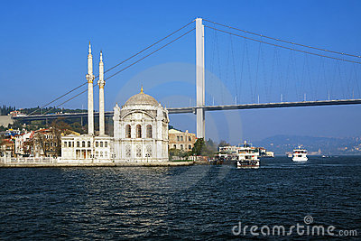 Ortakoy mosque and the Bosphorus bridge, Istanbul