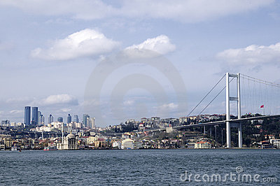 Ortakoy mosque and bosphorus bridge in istanbul