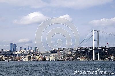 Ortakoy mosque and bosphorus bridge in istanbul