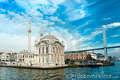 Ortakoy mosque and Bosphorus bridge, Istanbul,.