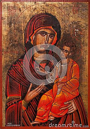 抱孩子耶稣东orthod的圣母玛丽亚 编辑类照片