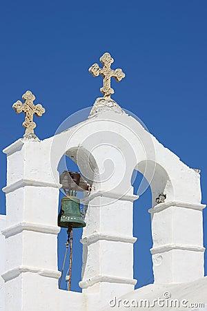 Orthodox bell tower in Santorini