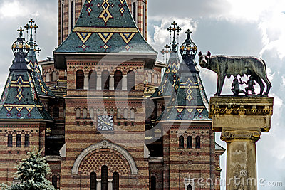 Orthodox Cathedral and wolf. Detail 2