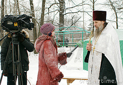Orthodox Christians participate in a Christening Editorial Photo