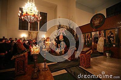 Orthodox christmas mass Editorial Photo
