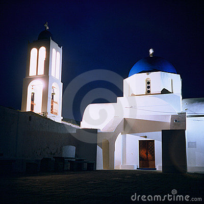 Orthodox church, Greece, night
