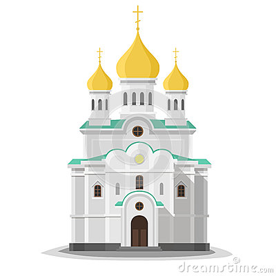 Orthodox church isolated. Vector Illustration