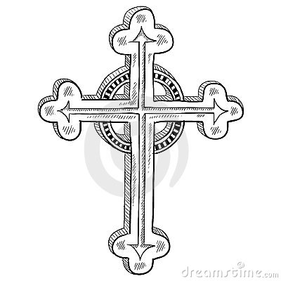 Orthodox cross sketch