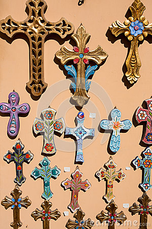 Free Orthodox Crosses For Sale In Local Shop Stock Photography - 34400282