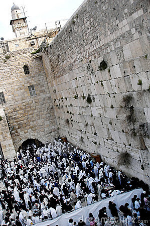 Orthodox Jewish Pray at Western Wall Editorial Photo