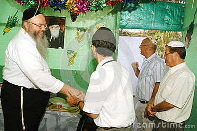 Orthodox Jews Celebrate Sukkot in a Sukkah Editorial Image