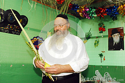 Orthodox Jews Celebrate Sukkot in a Sukkah Editorial Photography