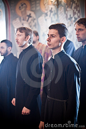 Orthodox liturgy with bishop Editorial Stock Image