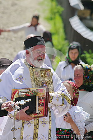 Free Orthodox Priest And People In Traditional National Costumes - A Village In Maramures, Romania Stock Image - 98598371