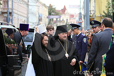 Orthodox Priests and Police Editorial Stock Photo