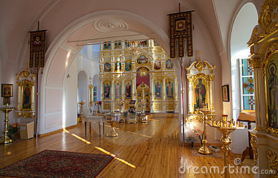 Orthodox Russian traditional church interior