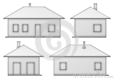 Orthographic Views Of The House Stock Illustration - Image ...