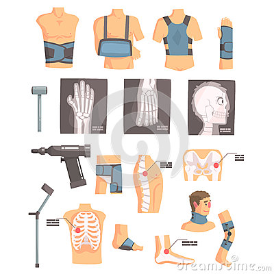 Orthopedic Surgery And Orthopaedics Attributes And Tools Set Of Cartoon Icons With Bandages, X-rays And Other Medical Vector Illustration