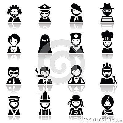 Os ícones ajustaram as faces dos povos
