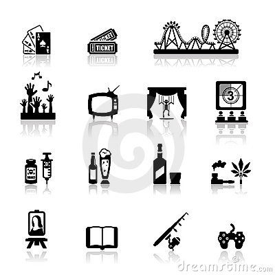 Os ícones ajustaram o divertimento e o entretenimento