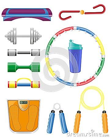 Os ícones da aptidão ajustados vector a ilustração