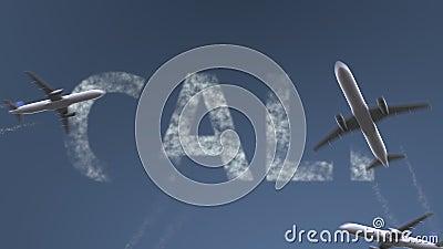 Os aviões do voo revelam o subtítulo de Cali Viagem à animação conceptual da introdução de Colômbia ilustração royalty free