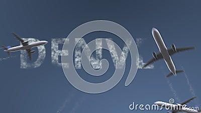 Os aviões do voo revelam o subtítulo de Denver Viagem à animação conceptual da introdução do Estados Unidos vídeos de arquivo