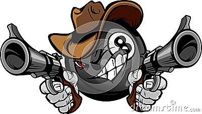 Os bilhar associam o cowboy dos desenhos animados do tiroteio de oito esferas