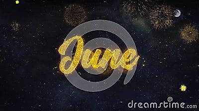 Os desejos do texto de junho revelam do cart?o das part?culas do fogo de artif?cio video estoque