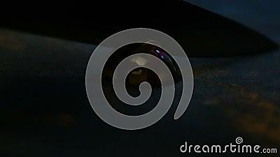 Os doces de chocolate da esfera do close up cortaram ao meio pela faca filme