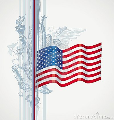Os EUA embandeiram e símbolo americano