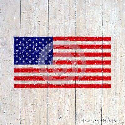 Os EUA embandeiram na parede de madeira velha