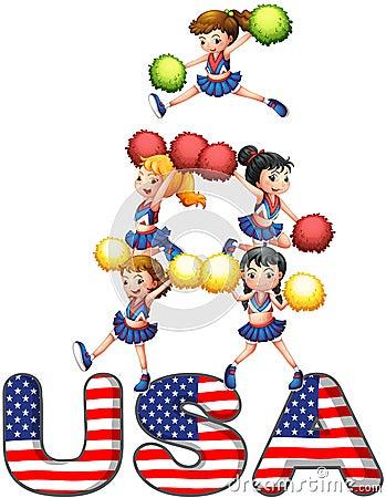 Os EUA que cheering o pelotão