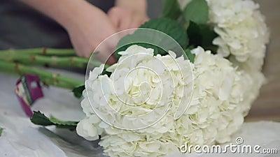 Os floristas decoram a sala