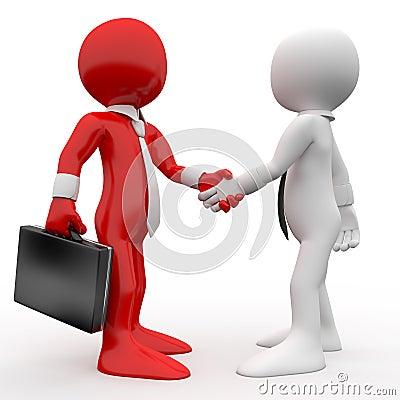 Os homens que agitam as mãos como um sinal da amizade e concordam
