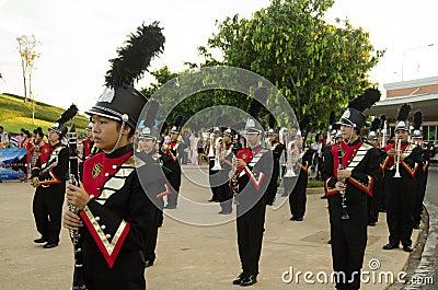 Os músicos no Monarchist reagrupam, Tailândia Foto de Stock Editorial