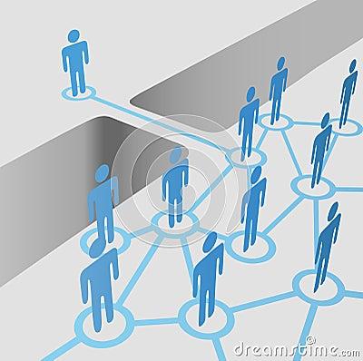 Os povos a abertura da ponte que conecta juntam-se à equipe da fusão da rede