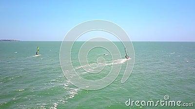 Os Windsurfers navegam no novato do oceano caíram na água video estoque