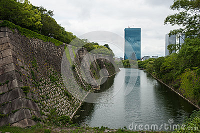 Osaka caste s wall with a ditch