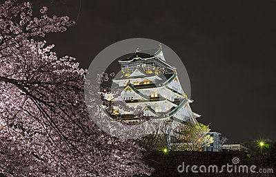 Osaka Castle Night View Stock Photo