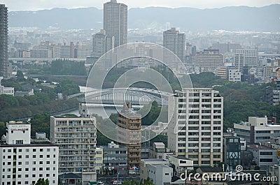 Osaka Skyline on a cloudy day Editorial Photo