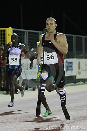 Oscar Pistorius runs Editorial Stock Photo