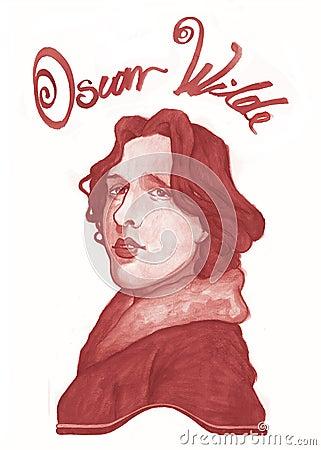σκίτσο του Oscar wilde Εκδοτική Στοκ Εικόνες